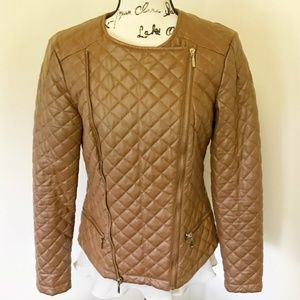 Baccini Brown Motorcycle Quilted Zipper Jacket